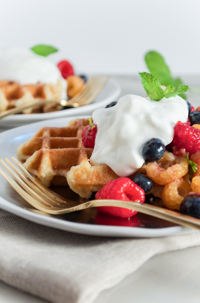 Mixed Berry Waffles perfect for the Fourth of July from www.sprinkledsideup.com