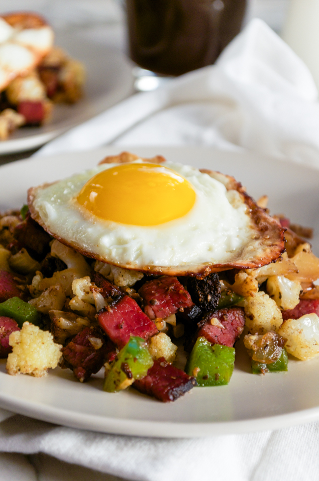 Cauliflower Pastrami Hash with a fried egg from www ...