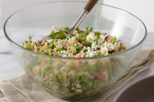 A Summer Tabouli - asparagus, peach, feta and lots of parsley tossed with freekeh from www.sprinkledsideup.com