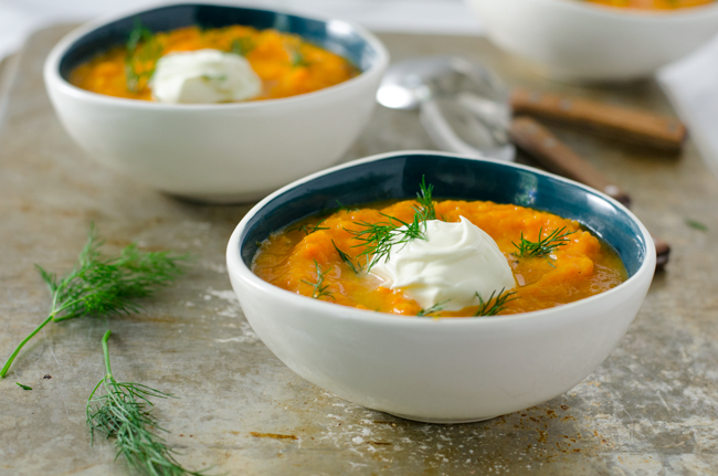 Chilled Carrot Soup with Yogurt and Dill from www.sprinkledsideup.com