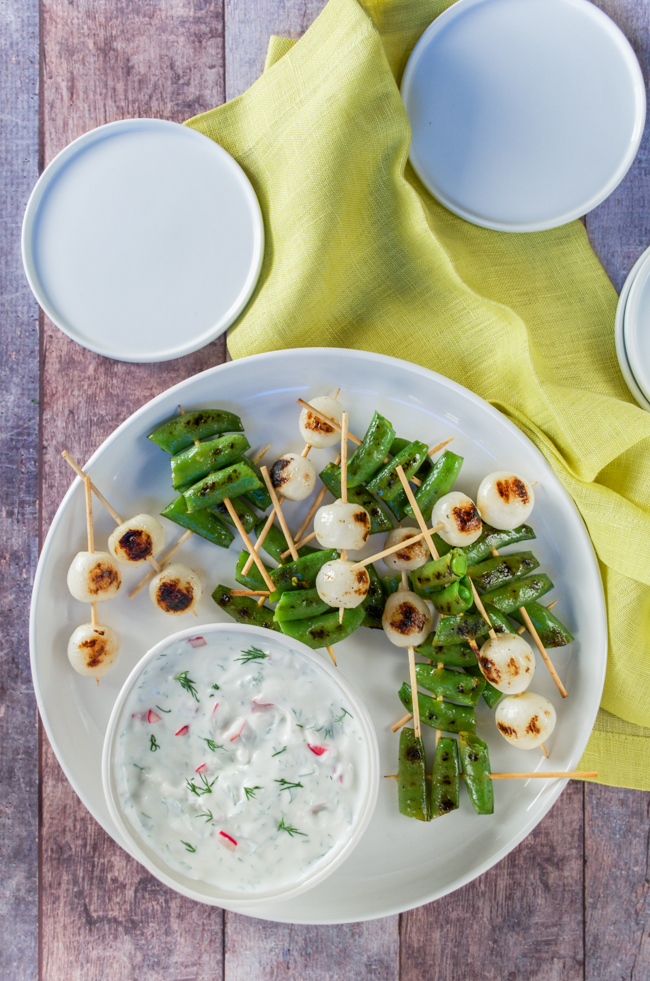 Grilled Sugar Snap Peas and Pearl Onions with Radish Tzatziki from www.sprinkledsideup.com