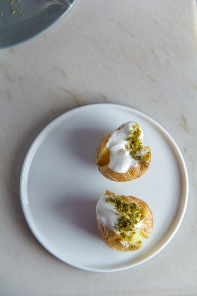 Mini Baked Potatoes with Labne and Zaatar from www.sprinkledsideup.com