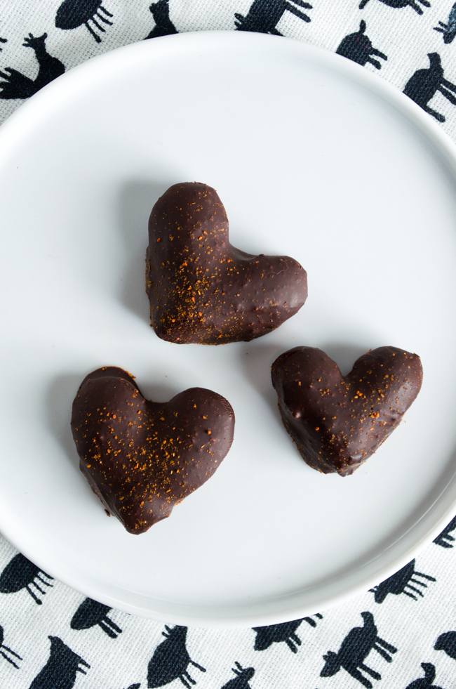 Chocolate-Covered Almonds with Cayenne Pepper is the perfect, easiest Valentine's Day treat. Vegan, dairy and gluten-free and only 4 ingredients!